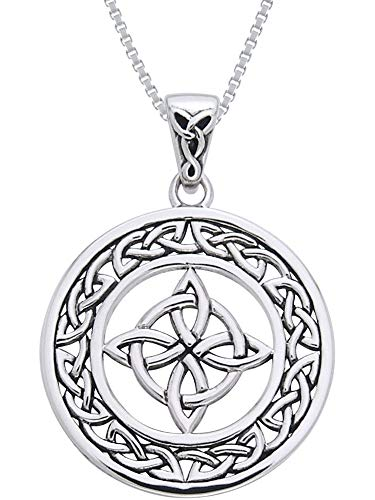 Jewelry Trends Celtic Good Luck Knot Round Medallion Sterling Silver Pendant Necklace 18'