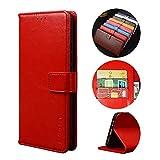 BaiFu Handyhülle für Asus Zenfone 7 Pro ZS671KS Hülle mit Kartenfach Magnetisch Premium Leder Flip Schutzhülle Tasche Hülle Brieftasche Etui lederhülle Kompatibel mit Asus Zenfone 7 Pro ZS671KS -Rot