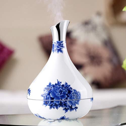 Blauw En Wit Porseleinen Vaas Luchtbevochtiger, Intelligent Mute Grote Capaciteit Aromatherapie Diffuser Met Magnetron Afstand Sensing-Functie En Multi-Language Manual