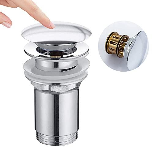 ONECE Universal Ablaufgarnitur mit Filterkorb, Pop Up Ventil mit Überlauf Abflussgarnitur Waschbecken Abfluss, Chrom Ablaufventil Waschbeckenablauf