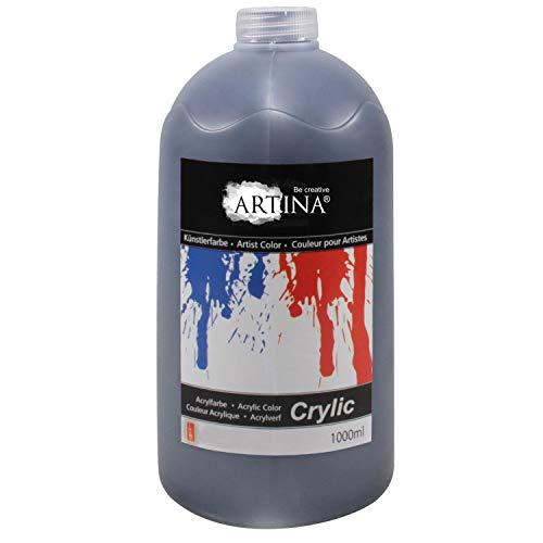 Artina Crylic Acrylfarben - hochwertige Künstler-Malfarbe in 1000 ml Flaschen in Schwarz & weitere Farben
