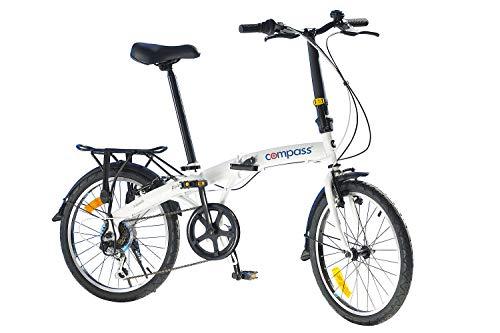 Compass Faltrad 20 Zoll Stahl, Klapprad, Klappfahrrad mit Shimano 6-Gang Schaltung Freeshift, leicht und stabil … Farbe weiß