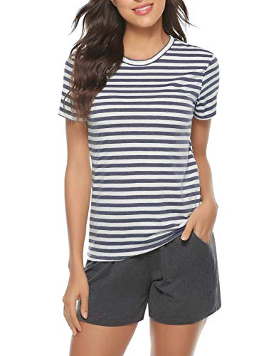 Irevial Damen Kurz Schlafanzüge Baumwolle Streifen Pyjama Rundhals-Ausschnitt Streifenhose Hausanzug Sommer Sleepwear