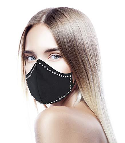 CHIC&LOVE | Banda Facial Negra para Mujer con Diseño Original con Cristales | AntiPolvo y AntiPolen Negra Estampado y Lavable hasta 25 Lavados | Para ir a la Moda y Fashion (Contorno)