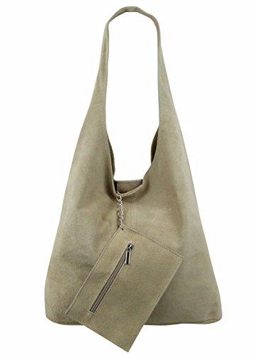 Freyday Damen Ledertasche Shopper Wildleder Handtasche Schultertasche Beuteltasche Metallic look (Beige)