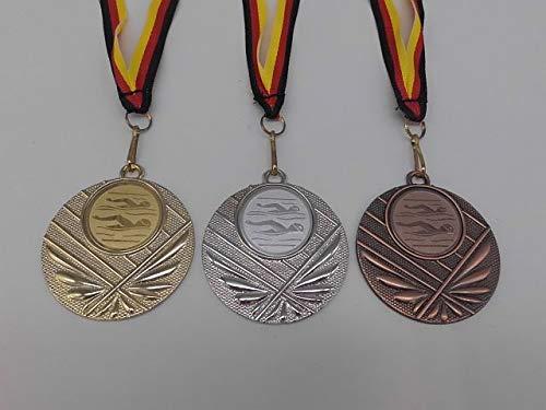 Fanshop Lünen Medaillen Set - Metall 50mm - Schwimmen - Gold, Silber, Bronze - Herren - Damen - Alu Emblem 25mm (Gold, Silber, Bronce) - Medaillenset - mit Medaillen-Band - (e4008)