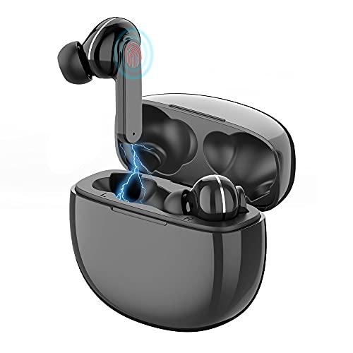 In Ear Kopfhörer Bluetooth BN Electronic Schwarz Kabellos mit USBC Laden, 24 Std. Laufzeit, IPX5 Wasserdicht, Integriertes Mikrofon und Berührungssteuerung