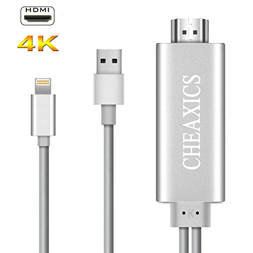 CHEAXICS Compatible with iPhone X 8 7 6 5 iPad iPod HDMI Cable, Digital AV Adapter, 2018 Latest Plug and Play 1080P Audio AV Connector (Silver)