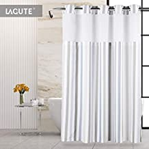Lagute SnapHook Stijl Hook Free Shower Curtain | 74 in (L) x 71 in (W) | Removable Liner | See Through Top | Machine Washable | Nordic Stripes