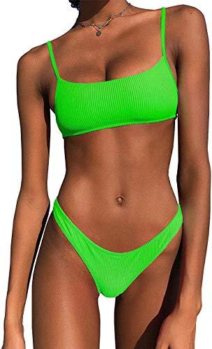 IBIZA VIBE Bikini-Set gerippt, Neon-Look, Crop Top, hoher Schnitt, sexy, zweiteilig, brasilianischer Badeanzug für Frauen - Grün - (36/38 DE/Large)