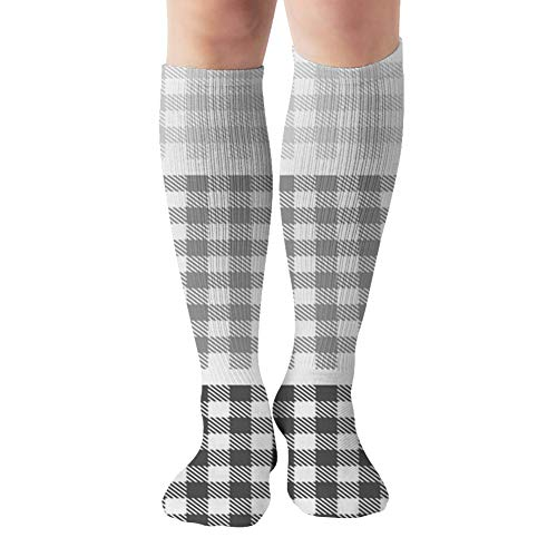 Picnic Table Cloth Grey Square Plaid The Arts Compression Socks For Women&Men - Best Medical For Running Athletic Flight Travel Circulation Recovery,19.68 Inch