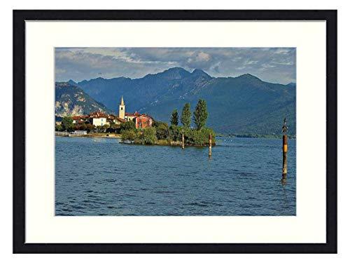 OiArt Wall Art Print Wood Framed Home Decor Picture Artwork(24x16 inch) - Lake Maggiore Landscape Island