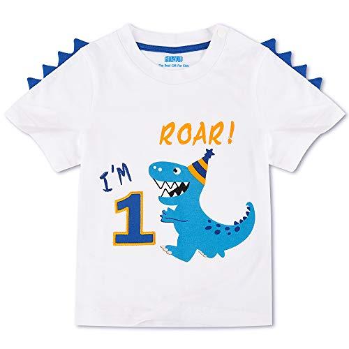 AMZTM Dinosaurio Camiseta de Cumpleaños - 1er Cumpleaños Suministros para la Fiesta Camisetas de Manga Corta para Bebé Niños Estampada Bordado con Cuello Redondo de 100% Algodón Camiseta (Blanca, 80)