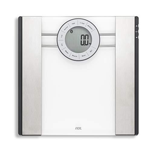 ADE Körperfettwaage BA 1601 FITvigo (Personenwaage mit App, Bluetooth zur Analyse von Gewicht, Körperfett, Körperwasser, Muskelmasse, BMI) silber