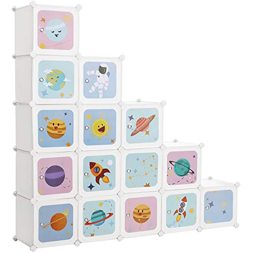 SONGMICS Armario Modular Infantil de 15 Cubos, Organizador Modular para niños, Estantes de Cubo de plástico, con Puertas, para Ropa, Zapatos, Juguetes, 151 x 31 x 153 cm, Blanco LPC902W