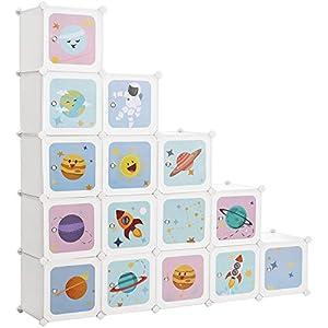 SONGMICS Armario Modular Infantil de 15 Cubos, Organizador Modular para niños, Estantes de Cubo de plástico, con Puertas, para Ropa, Zapatos, Juguetes, 153 x 31 x 153 cm, Blanco LPC902W