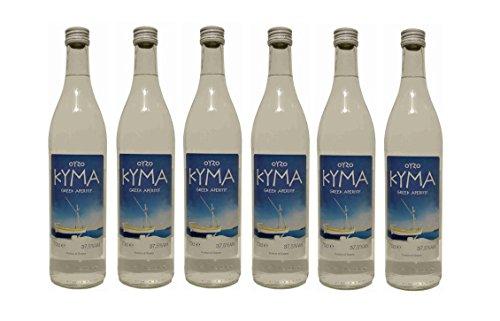 6x Ouzo Kyma 37,5% Vol. von Loukatos aus Patras Peleponnes Griechenland - feiner milder griechischer Trester Anis Schnaps Spar Set + 2 Probiersachets Frappe oder Olivenöl