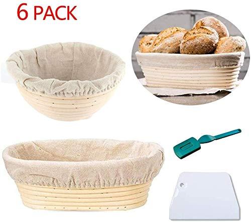 Sucastle Bread Basket Proofing 2Pcs Natürliche Rattan Banneton Rising Bowl Natursauerteig Proving Korb mit einem Tuch Liner