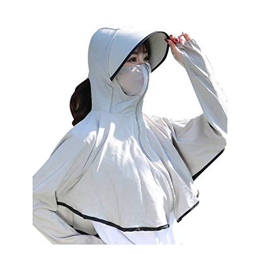 Yunbai UPF 50+ de protección Solar Largo/Manga Corta al Aire Libre, la Camiseta de Las señoras de Cardigan Manga Larga Delantera Abierta Trajes de protección Solar Tops Coat (Color : Gray)