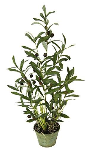 Flair Flower Künstllicher Olivenbaum mit schwarzen Oliven im Metalltopf Ölbaum Kunstbaum Kunstpflanze Topfpflanze Deko Baum, Polyester, Kunststoff, Metall, Grün, 70 cm