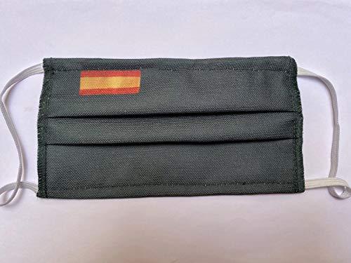 Mascarilla verde tela protectora homologada 3 capas bandera de España