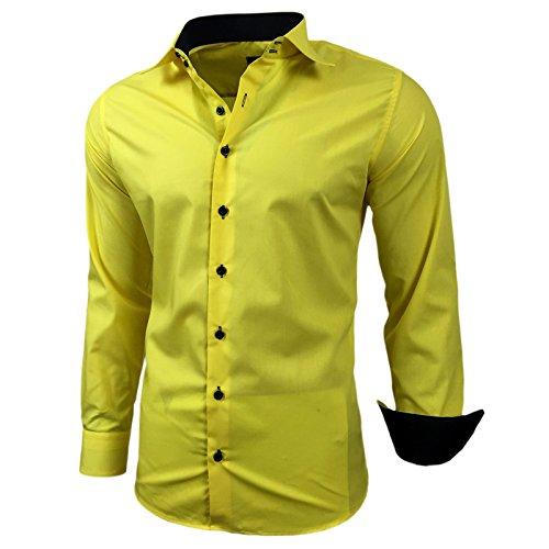 Baxboy Herren-Hemd Slim-Fit Bügelleicht Für Anzug, Business, Hochzeit, Freizeit - Langarm Hemden für Männer Langarmhemd R-44, Größe:L, Farbe:Gelb