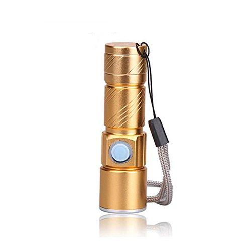 myfei Tragbare LED-Taschenlampe, USB wiederaufladbar Pocket Taschenlampe Lampe für die Jagd Camping, gold