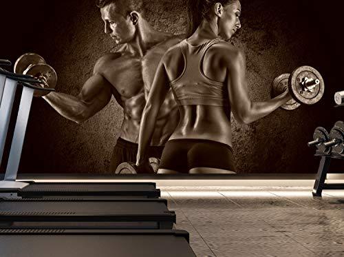 Vlies Tapete XXL Poster Fototapete Sport Fitness Paar Training Hanteln Farbe sepia, Größe 100 x 50 cm