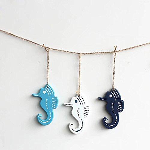 Minions Boutique nautique Ocean Life Décoration murale à suspendre Coton Porte Craft Décoration murale pour filet de pêche Plage Ornement Wood Craft Sea Horse 3 pcs