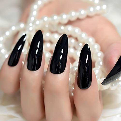 Nagelaufkleber für Mädchen Super Lange scharfe Klassische Feste Schwarze Stilettos falsche Nagelspitzen Ovale Stöckelschuhe hellschwarzes Acryl gefälschte Nagelkunst