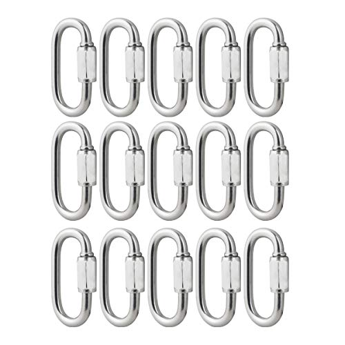 BNYZWOT 304 Stainless Steel Quick Links D Shape Locking Quick Chain Repair Links M3.5 1/8 inch Pack of 15