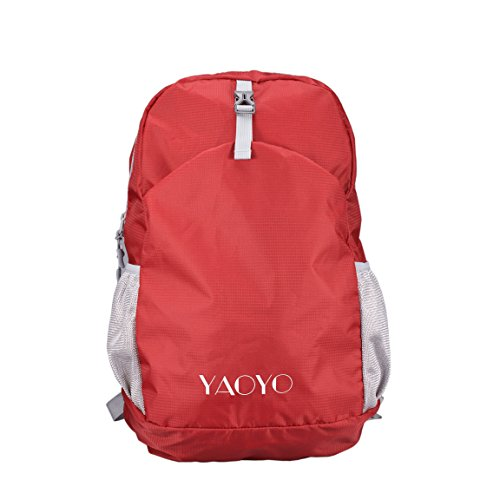 YAOYO Ultra Lightweight Backpack, Waterproof Foldable Hiking and Camping Outdoor Backpack, Perfect for Travel and Trip Load 25L (Red)