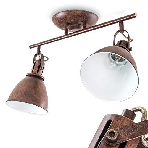 Faretti da Soffitto Modello Koppom Design Industriale- Illuminazione Moderna per Cucina e Salotto- Faretti Orientabili e Girevoli Color Ruggine
