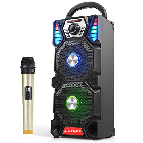 SOCOVEZ Portable Karaoke Machine with Wireless Microphone,Double Subwoofer Portable PA System with LED Changing Light,Karaoke Machine with Audio Recording Perfact for Adults/Kids