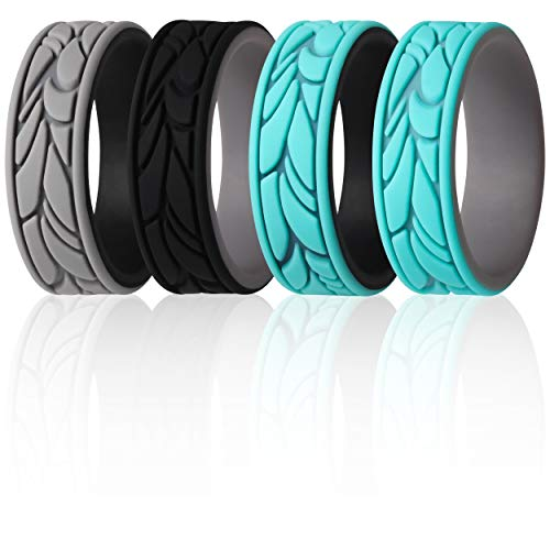 ThunderFit Silicone Rings for Women - 4 Rings Patterned Design Wedding Bands (Teal-Black, Black-Grey, Teal-Grey, Grey-Black, 5.5 - 6 (16.5mm))