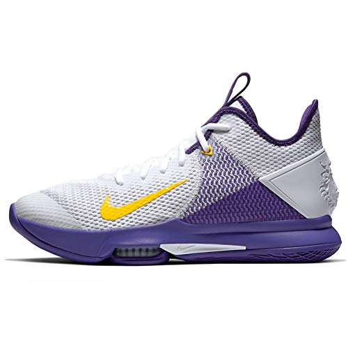 Nike Lebron Witness IV, Zapatillas de Baloncesto para Hombre, Multicolor (White/Amarillo/Field Purple 100), 44 EU