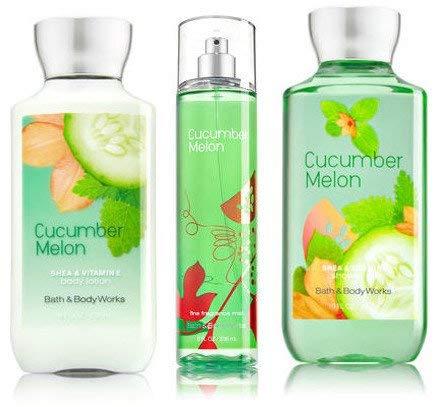 Bath & Body Works Cucumber Melon Gift Set, Body Lotion 8 Fl Oz, Shower Gel 10 Fl Oz, & Find Fragrance Mist 8 Fl Oz