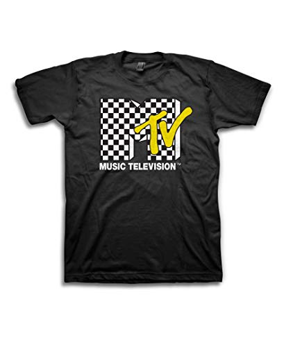 MTV Mens Shirt with Checkerboard - #TBT Mens 1980's Clothing - I Want My T-Shirt (Black, Large)