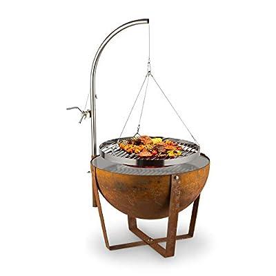 blumfeldt Fire Globe - Fire Bowl with Grill, Grill Ring: Ø 59 cm, Fire Bowl: Ø 60 cm, Grill Grate: Ø 59 cm, Dimensions: 60 x 120 cm (ØxH), Used Look: Artificial Rust Look, Height Adjustable, Brown from Blumfeldt