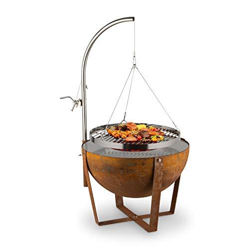 blumfeldt Fire Globe Feuerschale mit Grill, Grillring: Ø 59cm, Feuerschale: Ø 60cm, Grillrost: Ø 59cm, Maße: 60 x 120cm (ØxH), Used-Look: künstliche Rost-Optik, stufenlos höhenverstellbar, braun