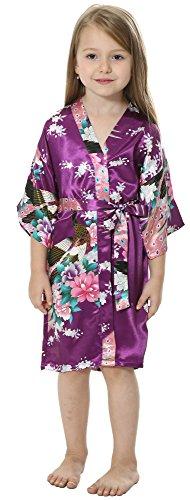 Joytton Kimono de satén con diseño de Pavo Real para Fiestas de...