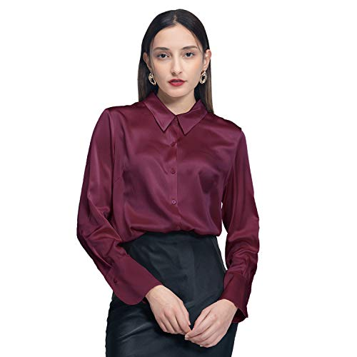 COLD POSH Damen 100% Seide Satin Bluse Langarm Shirt Button Down Tops,Burgund,L