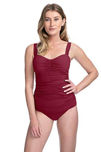 Profile by Gottex Women's Sweetheart Cup Sized Tankini Top Swimsuit, Tutti Frutti Merlot, 34D