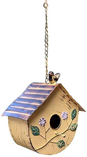 Goo-ki Bird House Bird House Fer for Les Petits Oiseaux Cabin Birdhouse Outdoor Hanging Décoration for Les Petits Oiseaux Ornements de Jardin (Couleur: B, Taille: 10.1x10.1x15.6cm)