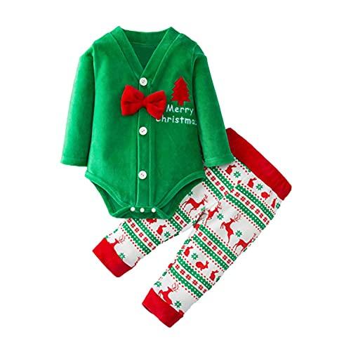 Conjunto de ropa de Navidad para bebé, niño, niña, conjunto de ropa navideña con pelele y pantalones largos para recién nacidos, verde, 12-18 Meses