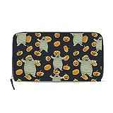 Women's Pumpkin And Mummy Printed Zip Wallet Passport Long Clutch Purse HandBag Card Holder Organizer