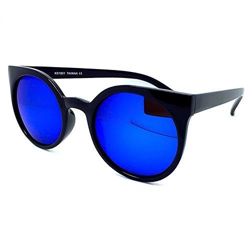 KISS Sonnenbrille Mirrored Mod. GROUND RIHANNA Stil - Mode rund WOMAN Rockabilly Vintage - SCHWARZ/Blau