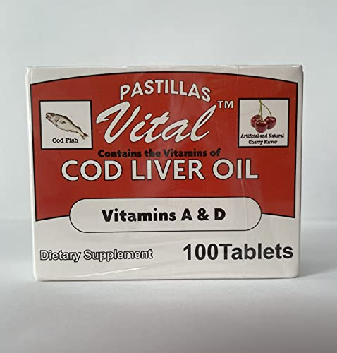 Pastillas Vital Cod Fish Liver Oil 100 Tablets, Vitamin A & D and Reinforced with Vitamin C
