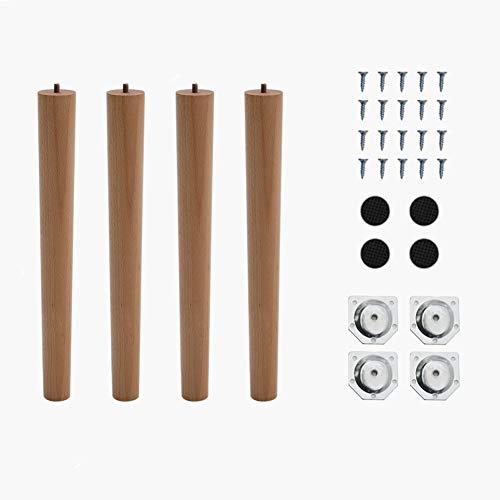 4 patas de madera maciza de haya - Patas con rosca M8 para muebles, diseño cónico - Patas de recambio para sofá, mesa, silla, escritorio, armario, otomana u otros muebles