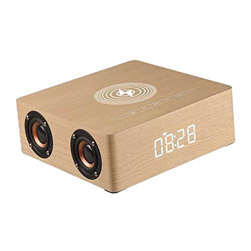 #N/A/a Reloj Despertador eléctrico LED, Cargador inalámbrico con Almohadilla de Carga inalámbrica, Sonido Envolvente de Altavoz Bluetooth - de Madera